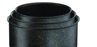 Die Kochgeschirr-Serie Ingenio von Tefal hat Antihaft-Versiegelung, verstärkt mit mineralischen Partikeln und modernem Stone-Effekt