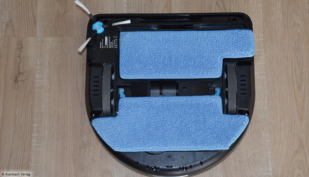 Im Gegensatz zum Medion wischt der Sichler Hobot mit zwei Tüchern über den Boden und imitiert dabei Wischbewegungen für eine gründliche Reinigung