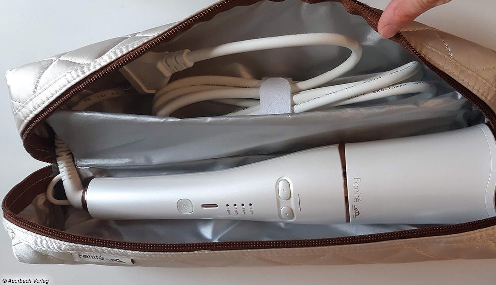 Der Lockenstab von Eta kommt mit einer hitzegeschützten Tasche zum Aufbewahren und Verreisen daher