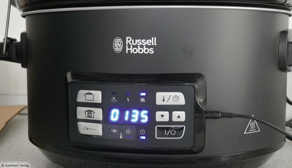 Die Digitalanzeige von Russell Hobbs zeigt je nach Einstellung Temperatur oder Garzeit an