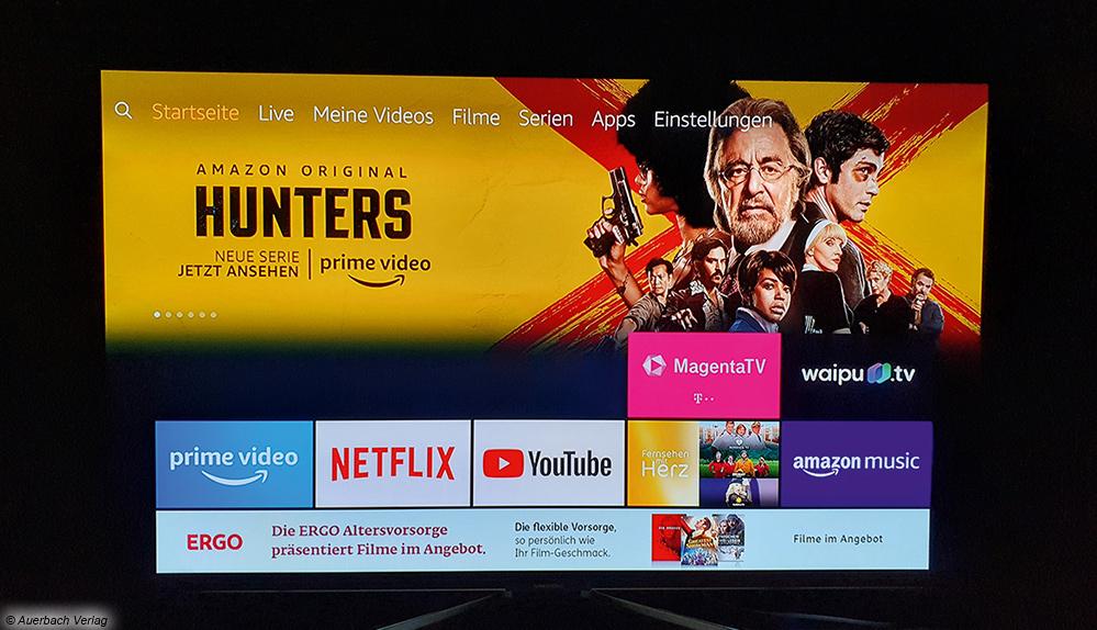 Wer einen Fire-TV-Stick von Amazon verwendet, kennt die Oberfläche bereits: Fire TV bietet hohe Übersichtlichkeit und für nahezu jedes Angebot eigene Apps