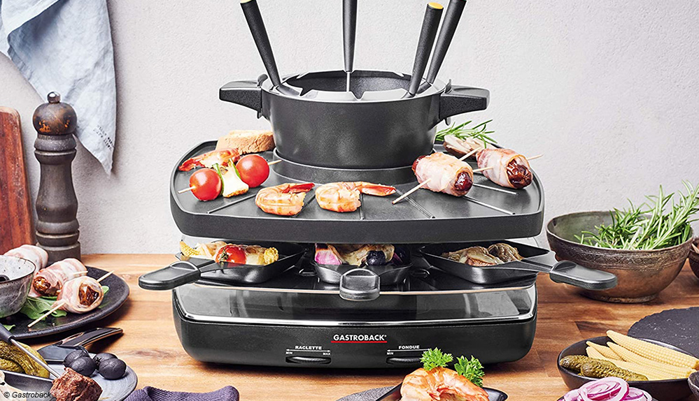Fondue und Raclette können beim Gastroback Fondue Set Family an Friends 42567 separat gesteuert werden