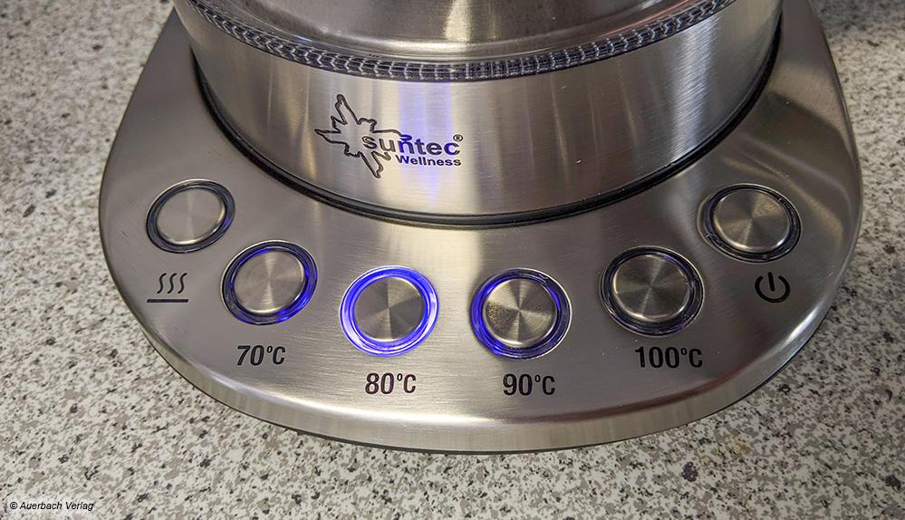 70 bis 100 Grad Celsius: Der Kocher von Suntec bildet die weiteren Temperaturstufen in Zehner-Schritten ab