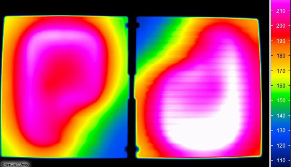 Über den Anschlussstellen der Heizelemente kommen die Grillplatten nur auf eine etwas geringere Temperatur, wie uns das Wärmebild zeigt