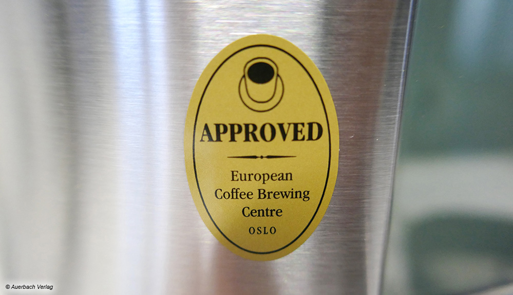 Qualitätsgarantie: Alle Testgeräte, die mit diesem Siegel ausgezeichnet sind, konnten sehr gute Brühergebnisse erzielen