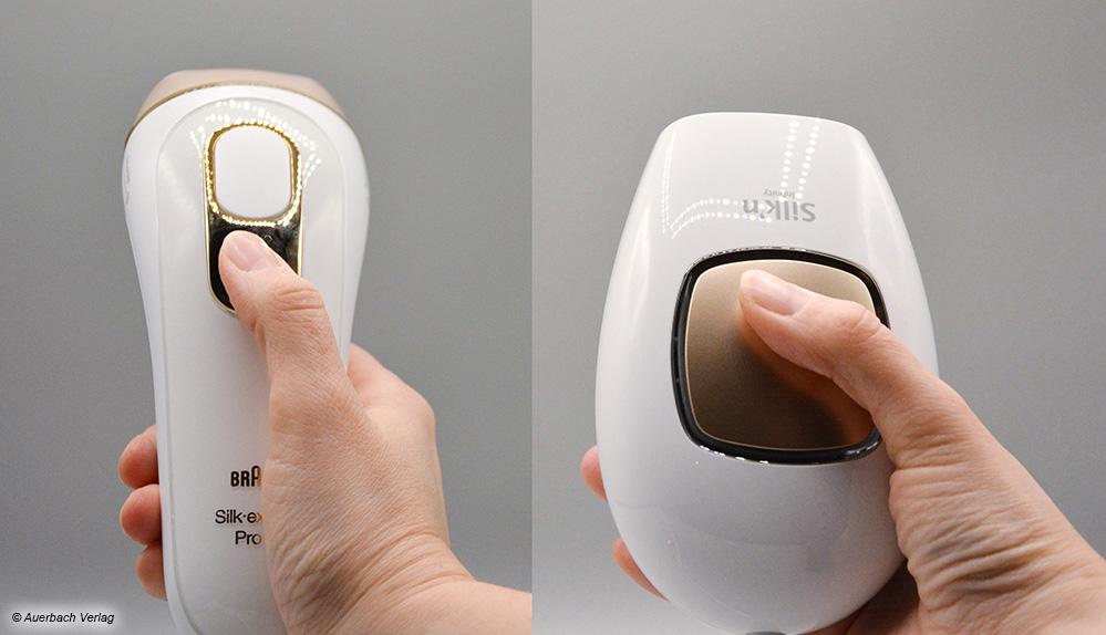 Der ergonomische Braun (links) liegt deutlich erkennbar besser in der Hand als der voluminöse Silk'n (rechts)