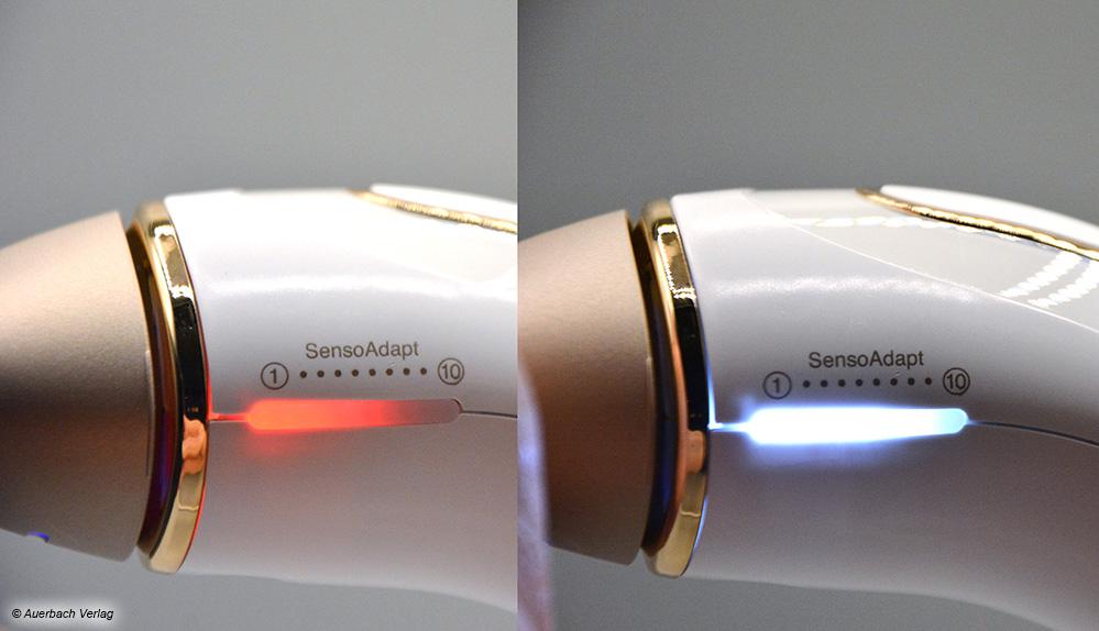 Bei zu dunkler Hautfarbe oder falscher Anwendung warnt der Braun per roter Anzeige, die im Normalbetrieb die Impulsdosierung anzeigt