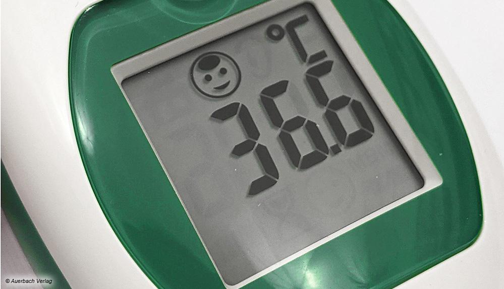Groß und freundlich: Das präsente Display des Scala-Thermometers zeigt übersichtlich alle Informationen. Der Speicher-Knopf sitzt etwas zu tief versenkt
