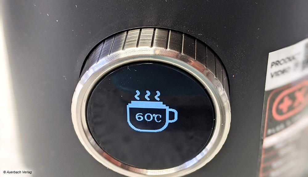 Im geschickt integrierten Display des Severin-Milchaufschäumers werden die verschiedenen Betriebsmodi wiedergegeben