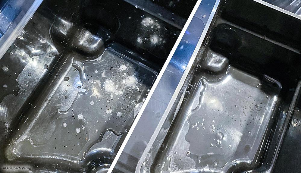 Die Reinigungstablette von Siemens (l.) ist nach dem Reinigungsprogramm nicht komplett aufgelöst – im Gegensatz zur Durgol-Tablette