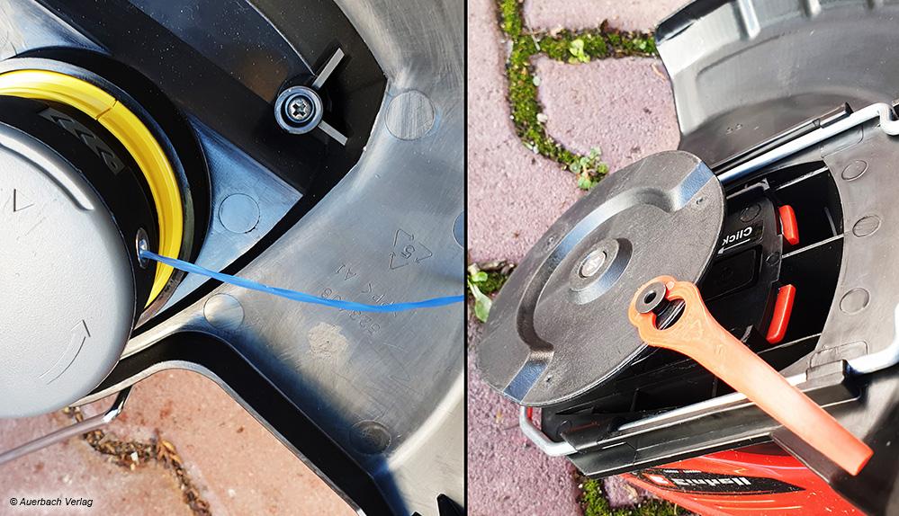 Die meisten Rasentrimmer verfügen über einen verlängerbaren Schnittfaden (links). Nur zwei Geräte verwenden Kunststoffmesser zum Trimmen (rechts)