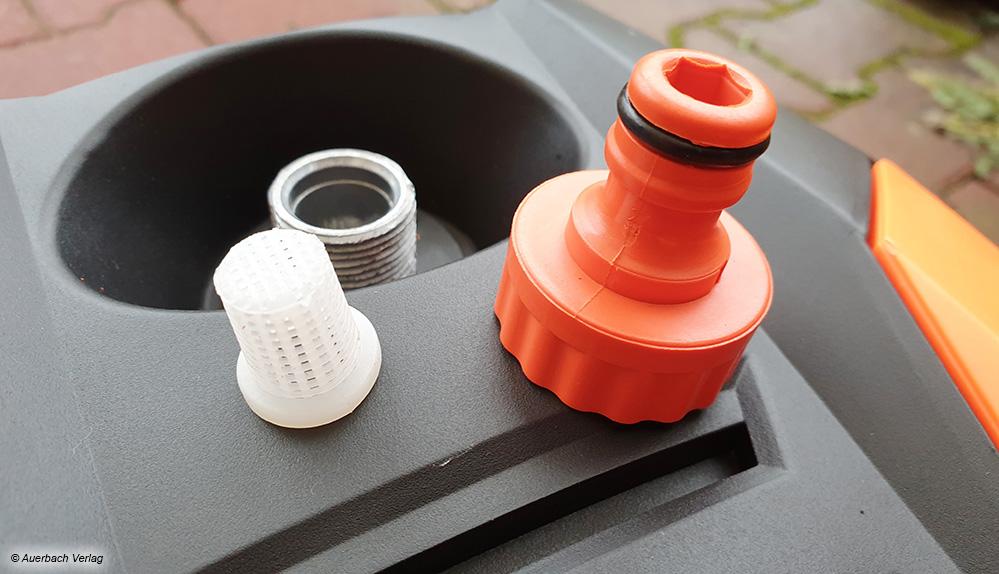 Wasserfilter und Schnellkupplung für den Schlauch sind mittlerweile bei nahezu allen Hochdruckreinigern serienmäßiger Standard