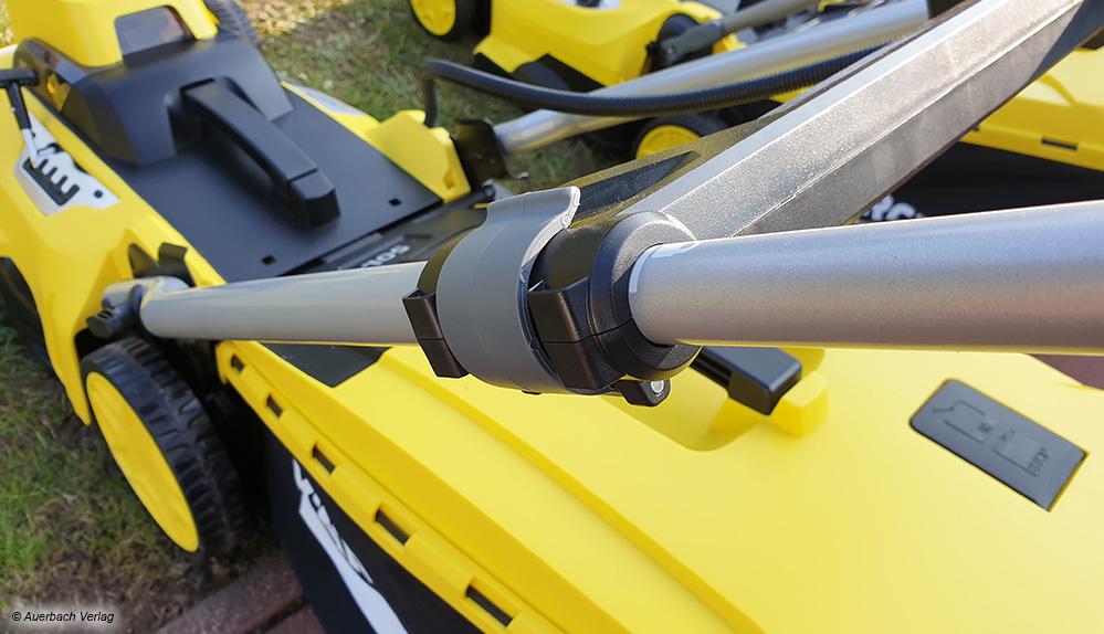 Eine stufenlose Höhenverstellung der Holme mit integrierter Schnellspannvorrichtung erweist sich im Test als besonders praktisch