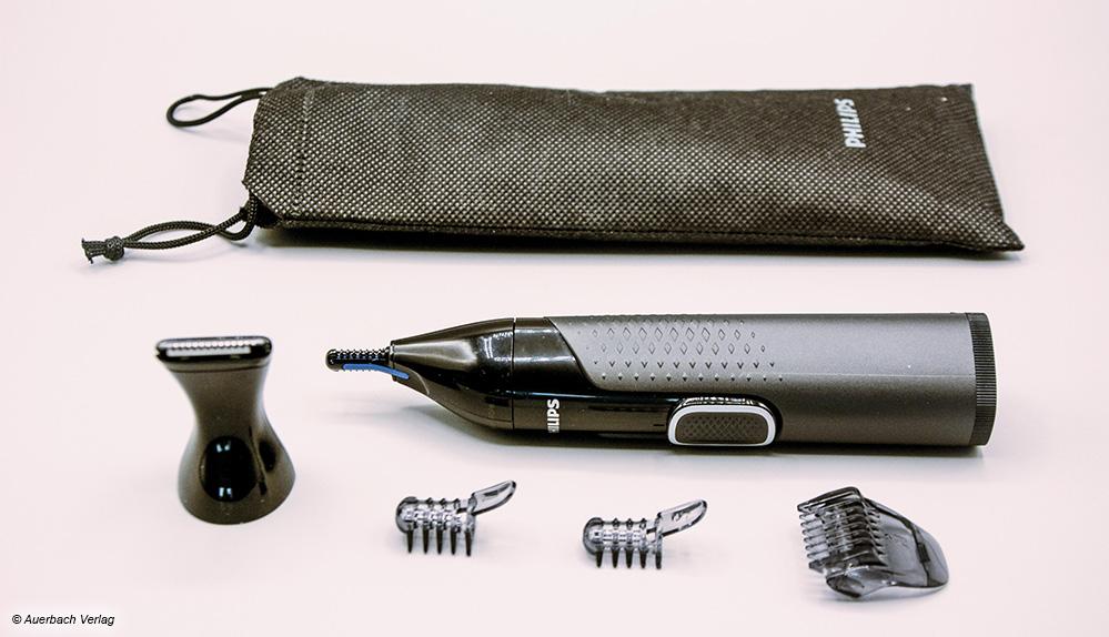 Philips hat mit seinen Kammaufsätzen und einem Trimmaufsatz das umfangreichste Zubehör von allen Geräten im Test