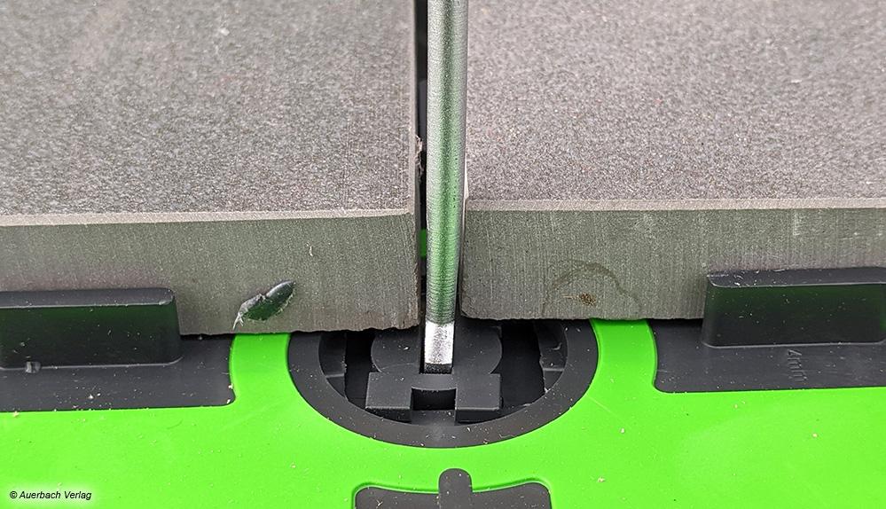 Ab einer Fugenbreite von 4mm lässt sich das Lager auch nach dem Verlegen stufenlos verstellen