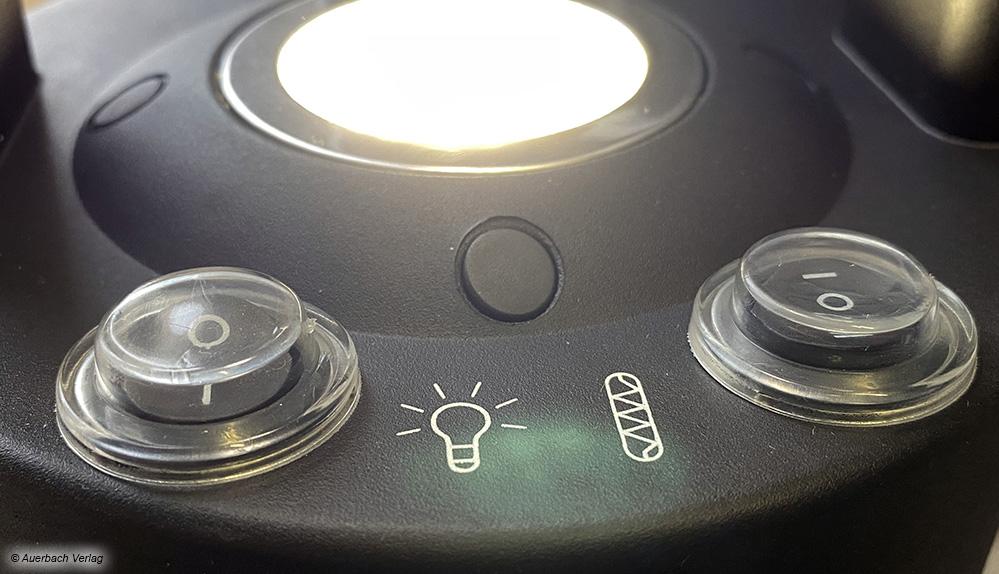 Das eingebaute Licht in Suntecs kleinem Heiztisch strahlt nach oben – liegt es im Sichtfeld, kann es sehr stark blenden