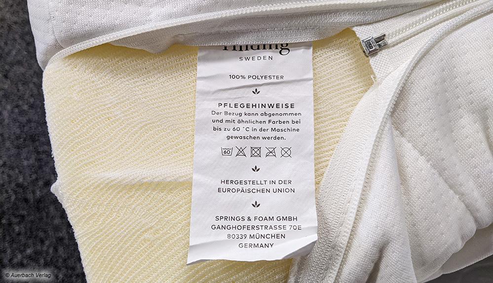 Wenige Hersteller setzen auf anderes Bezugsmaterial als Polyester, die Waschbarkeit bei 60 Grad Celsius ist hingegen fast überall gegeben