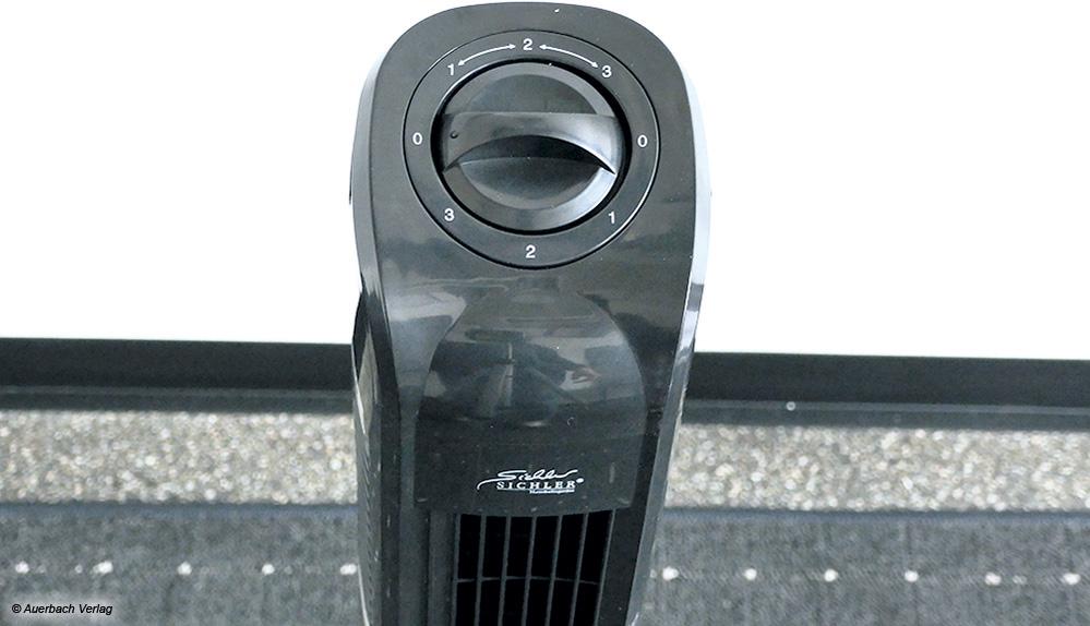Der Sichler Turmventilator lässt sich nur per Drehschalter direkt am Gerät steuern. Eine Fernbedienung gibt es nicht