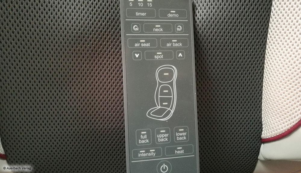 Die Kabelfernbedienung der Beurer-Auflage mit LED-Leuchten ermöglicht ein problemloses Auswählen der Funktionen