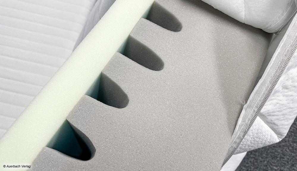 Am Aufbau der Matratze sind die eingearbeiteten Schichten gut ersichtlich – sie sorgen für Entlastung im Schulter- und Hüftbereich
