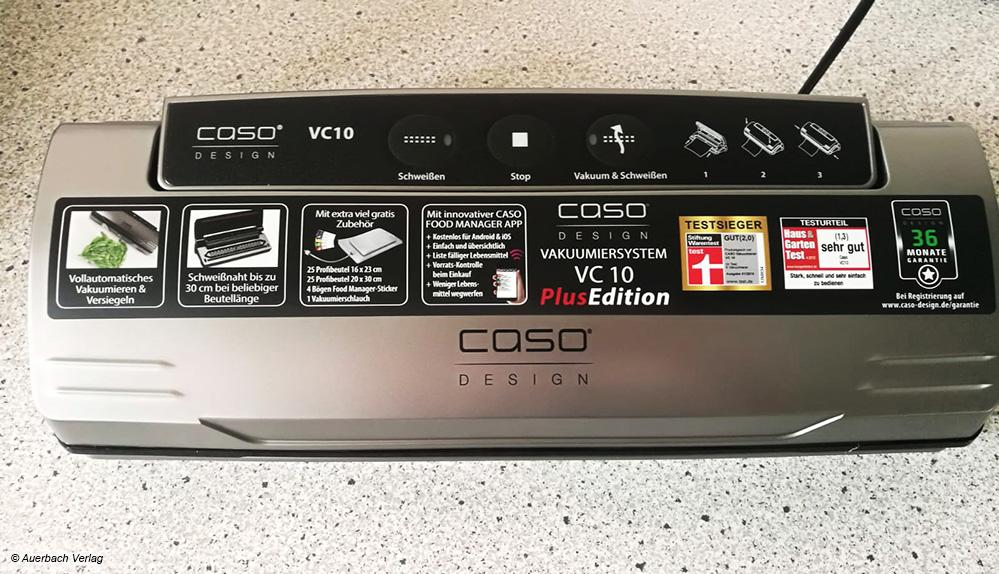 Der VC 10 von außen: Er ähnelt den anderen Kandidaten aus dem Hause Caso. Viele Auswahlmöglichkeiten sind auf dem Softtouch-Panel vorhanden