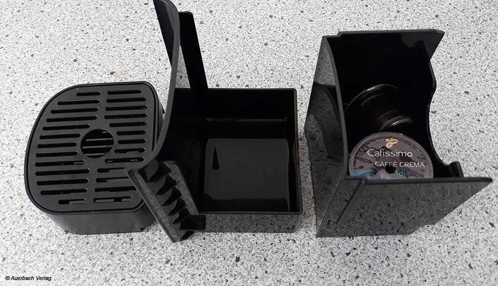 Abstellfläche, Kapsel- und Wasserfang lassen sich bei der Tchibo problemlos zum Reinigen auseinandernehmen